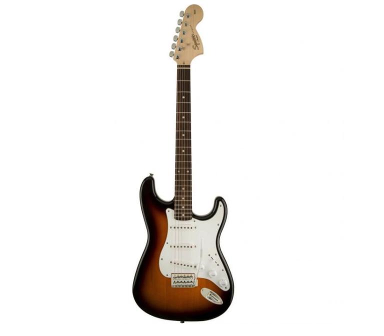 En sunbust Squier by Fender på hvid baggrund