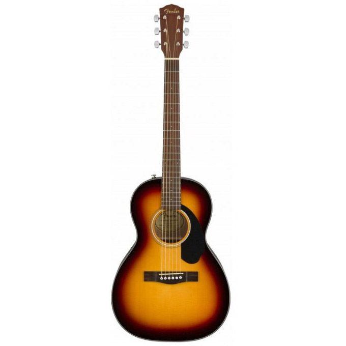 En akustisk sunburst fender parlor guitar, som er helt ny