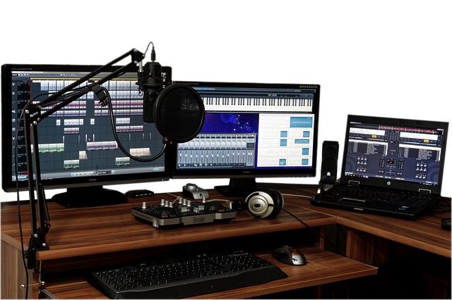 Lille hjemmestudie til mikrofon til guitarforstærker
